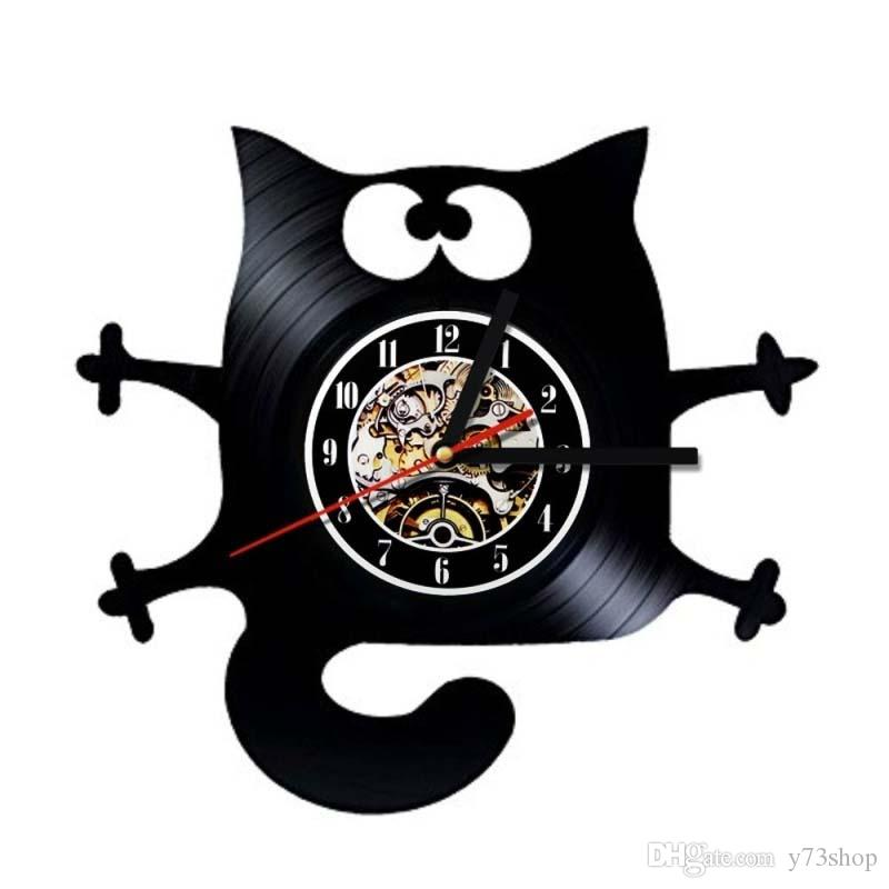 Cat Vinyl Clock Art Vinyl Wall Clock Gift Room Modern Home Decor Handmade Art Personality Gift (Size: 12 inches, Color: Black)