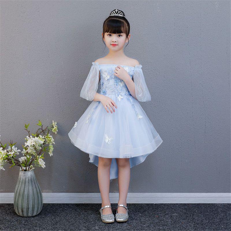 Acquista Vestito Da Spettacolo Bambina In Tulle Elegante Blu Chiaro Vestito  Feste Di Compleanno Bimba Fiori Di Farfalle Vestito Da Principessa Bambina  Abiti ... fcb0a52c00f