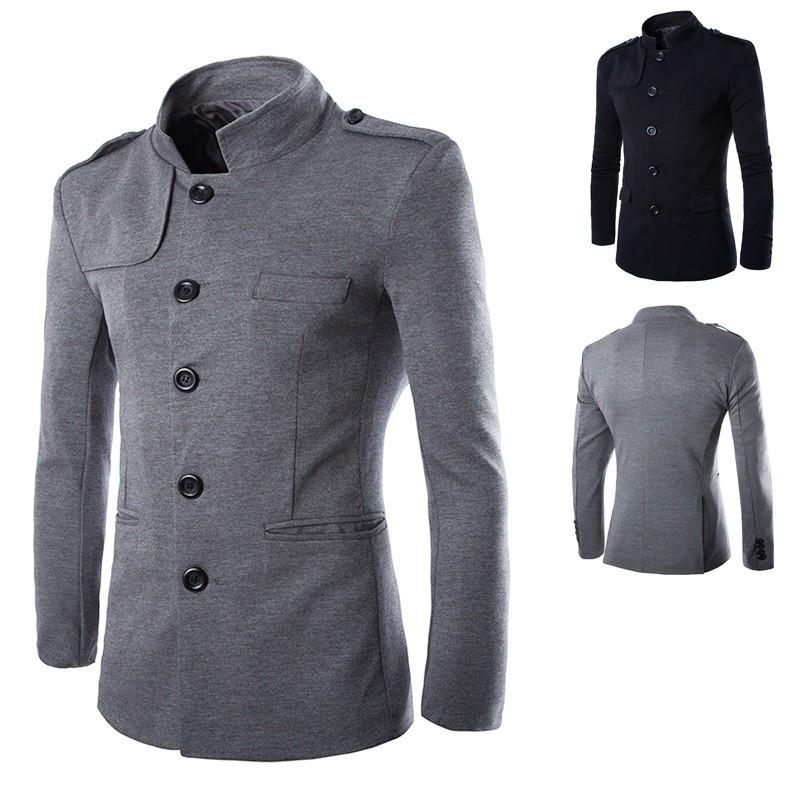 New Arrivals Winter Men Casual Stand Collar Chinese Tunic Suit Blazer Jackets Black Single Breasted Slim Jacket and Coat M-2XL