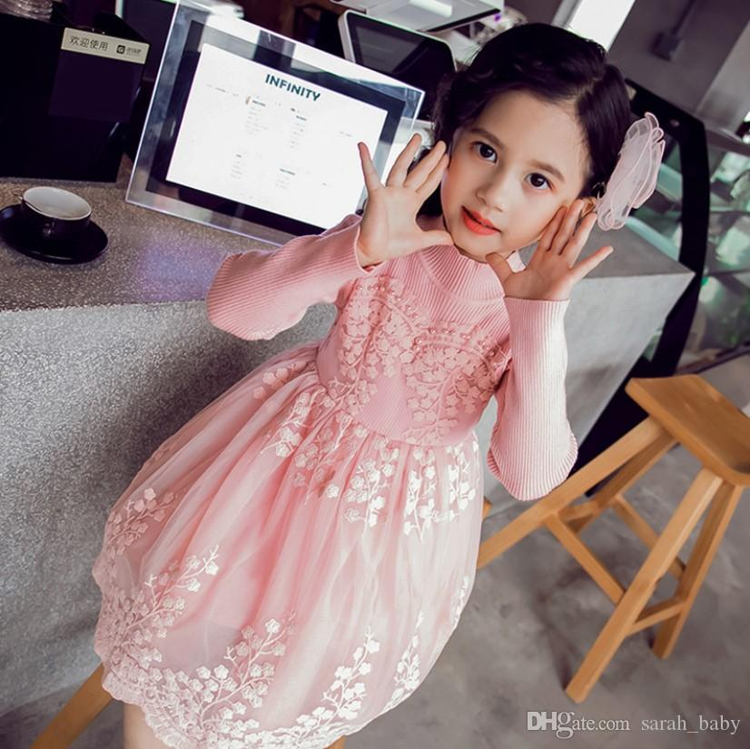 85e084765 2018 Autumn Korean Version of the Mesh Cotton Knit Girl Dress ...