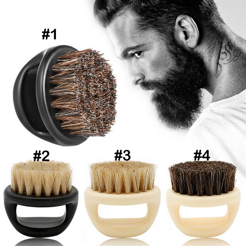 Ring Beard Brush Horse Bristle Hair Head Brush Men's Beard Clean Finger Shaving Portable Face Care Beard-care Cleaning Brush
