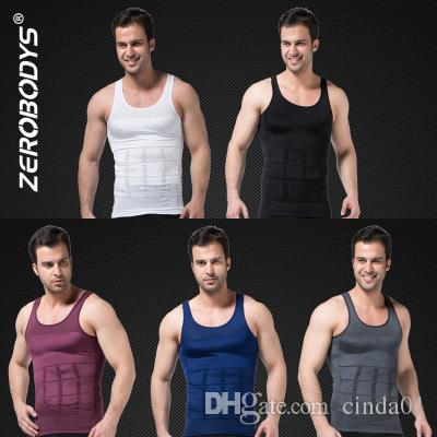 c43e4f1db477f Body Shaper For Men Slimming Shirt Vest Weight Loss Fat Top Gray Blue Black  Purple White S-2XL Online with  24.96 Piece on Misssixty s Store