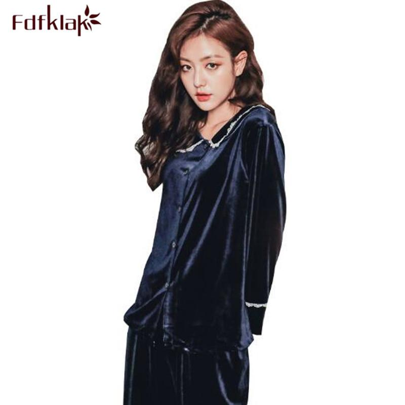 Fdfklak New Casual Women s Sleepwear Set Autumn Winter Pyjamas Women ... a330cbe21