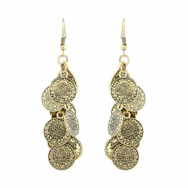 Vintage Bohemian Coins Bead Ear Jewelry Statement Earrings Ethnic Gypsy India African Long Dangle Earrings for Turkish Women