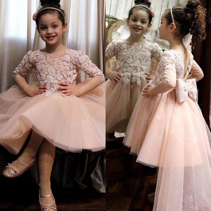 Blush Pink Flower Girl Dresses with Bow Lace Appliques Tulle Knee Length Little Girls Pageant Dress Kids Communion Birthday Gowns