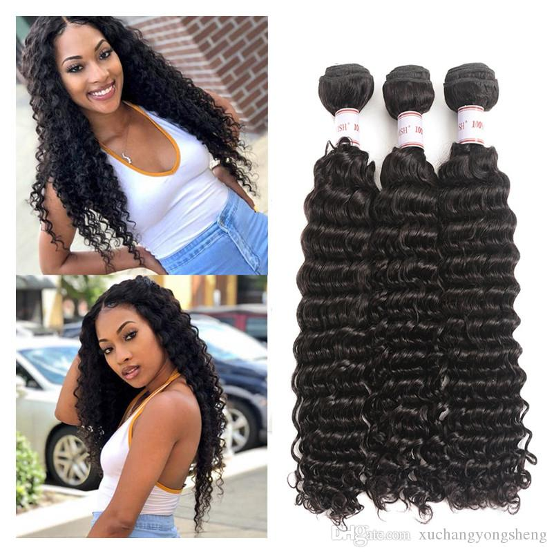 Grade 8A Malaysian Deep Wave Human Hair Bundles 100% Unprocessed Malaysian Deep Wave 3 Bundles Human Hair Weaves