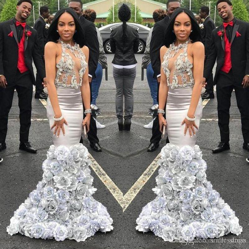 Sexy 2019 Silver Black Girl Prom Dresses Mermaid See Through 3d Hand