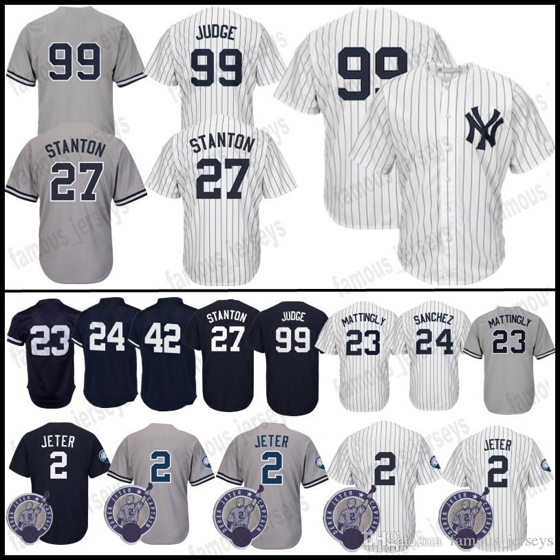 huge discount 5dc97 6779a 99 Aaron Judge Jersey New York Yankees 27 Giancarlo Stanton 2 Derek Jeter  23 Don Mattingly 24 Gary Sanchez 42 Mariano Rivera Stitched