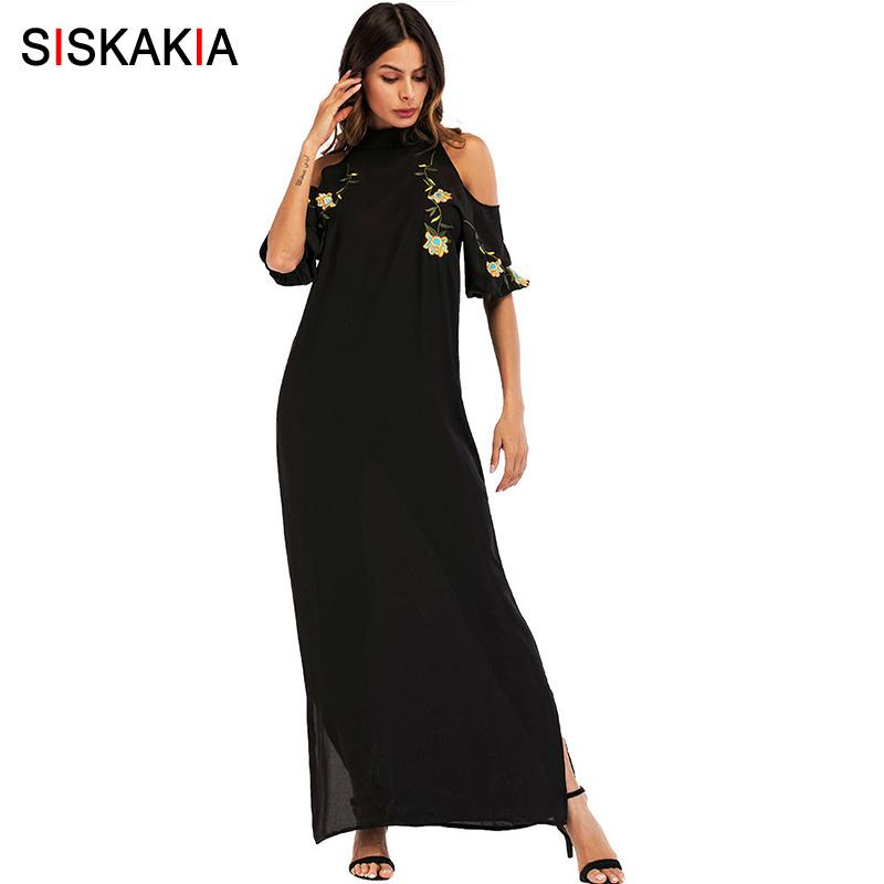 Siskakia Stand Collar Short Sleeve Maxi Dress Summer 2018 Floral