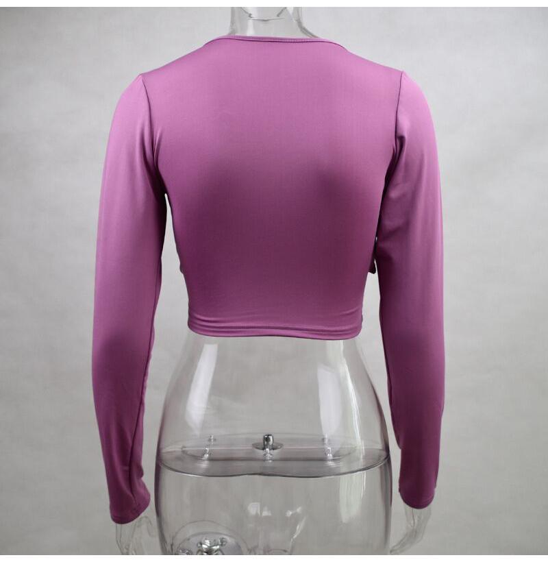 Sexy Velvet Autumn Women Short T-shirts Deep V-neck Long Sleeve Solid Slim Fit 2019 Ladies Wrap T Shirt Crop Tops Tees Low Cut