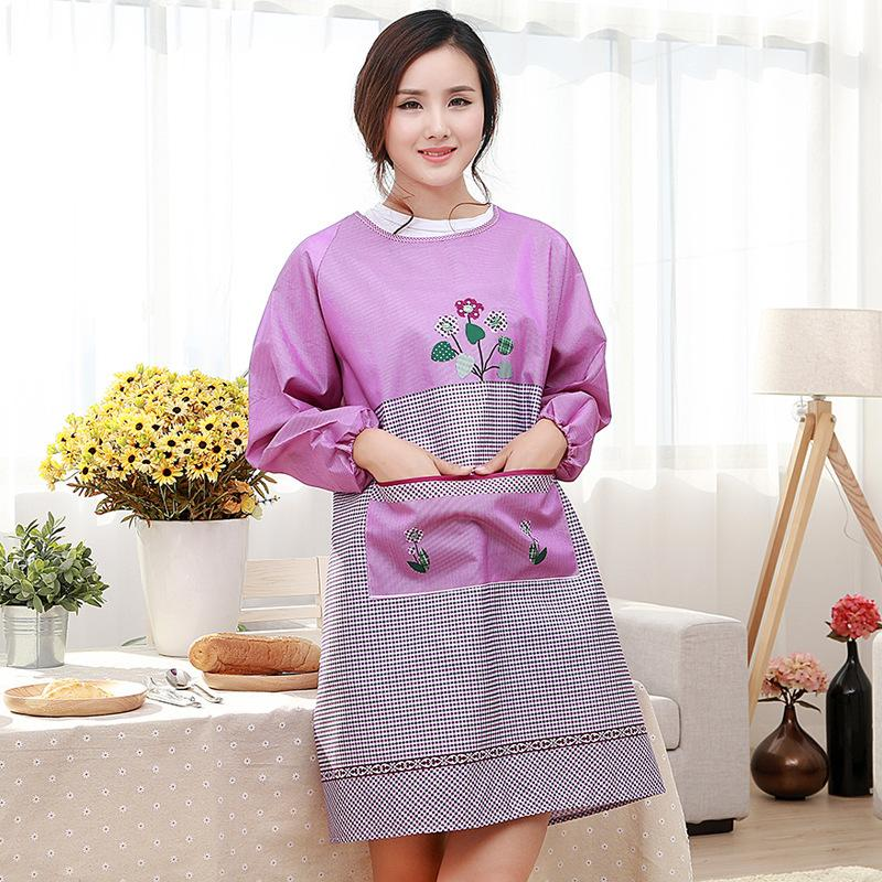 ae1d4b38027 The Adult Protective Clothing Apron Kitchen Home Long Sleeved Anti Wear Anti  Fouling Smock Flower Apron Personalized Aprons Red Apron From Industrial