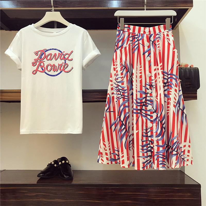 High Quality Runway Style Women Two Piece Letter Short Tshirt Tops and Single-breasted Striped Print Mid Skirt Sets Y190921