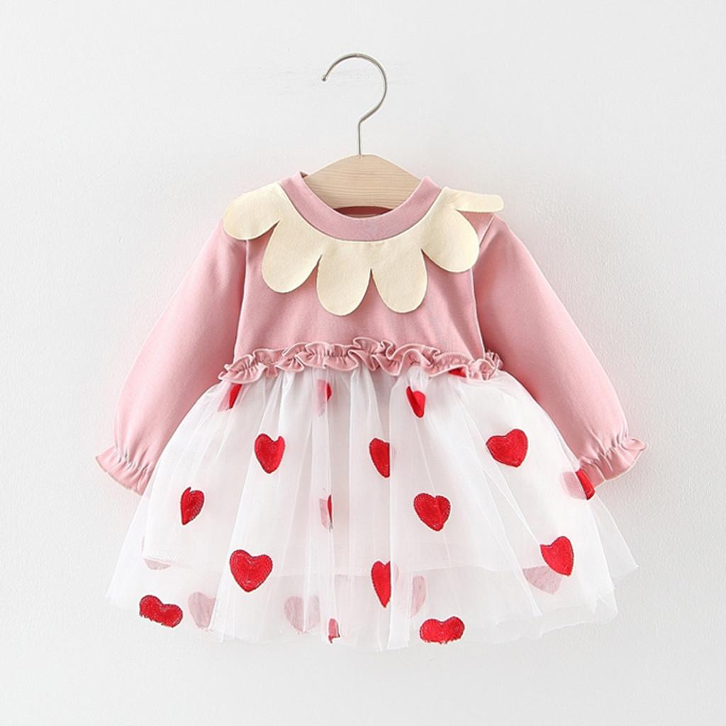Girl Dress Princess Girls Ruffles Tulle Patchwork Love Heart Print Tutu Dress Toddler Baby Birthday Outfits Infantil Vestido E1