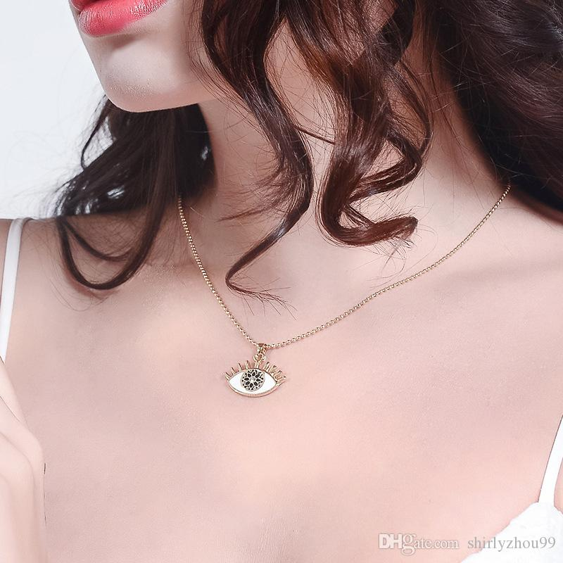Custom wholesale jewelry special eye shape simple design collarbone chain necklace for ins girls, short oil drop clavicle pendant necklace