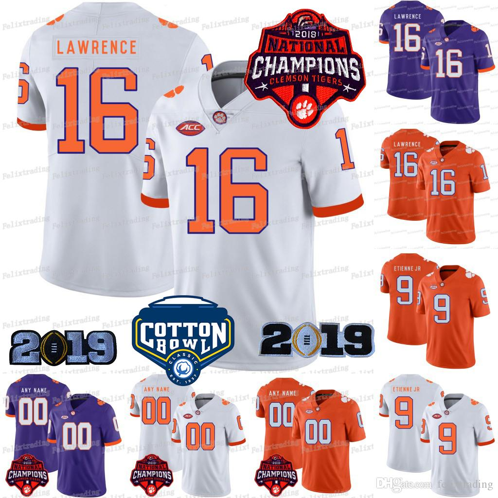 81319bfd024 2019 2018 Champions Clemson Tigers Cotton Bowl Trevor Lawrence Travis  Etienne Justyn Ross Tee Higgins Isaiah Simmons Tanner Muse College Jersey  From ...