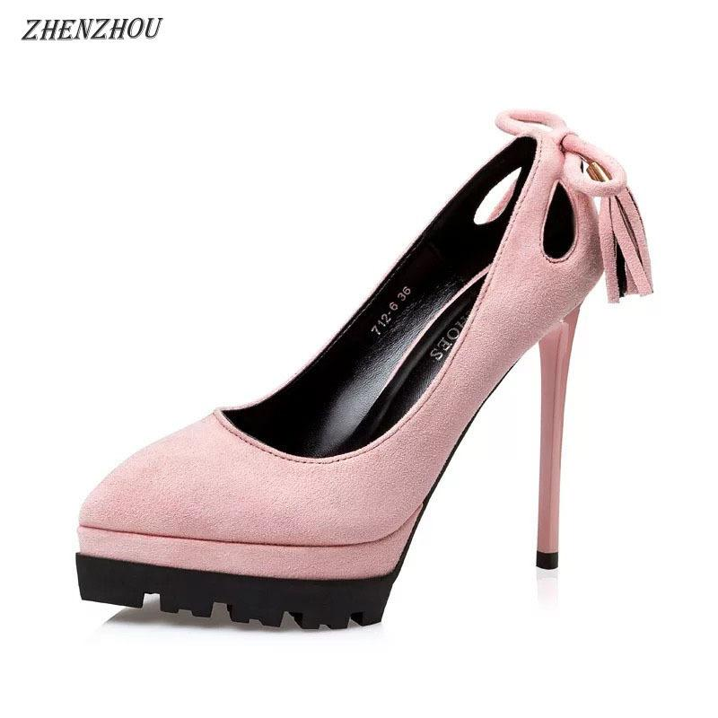 647a67a0b58c5 Dress Zhenzhou 2019 Multi-color Special Design Pointed Strap Platform Suede  High Heels Pumps Cute Sexy Pink Dating Women's Shoes
