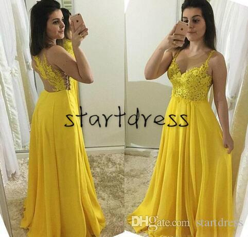 1d9ad61ef Pretty Yellow A Line Prom Dresses Long Spaghetti Straps Top Lace Appliques  Full Length Chiffon Formal Evening Gowns Sexy Vestidos De Fiesta Prom  Dresses For ...