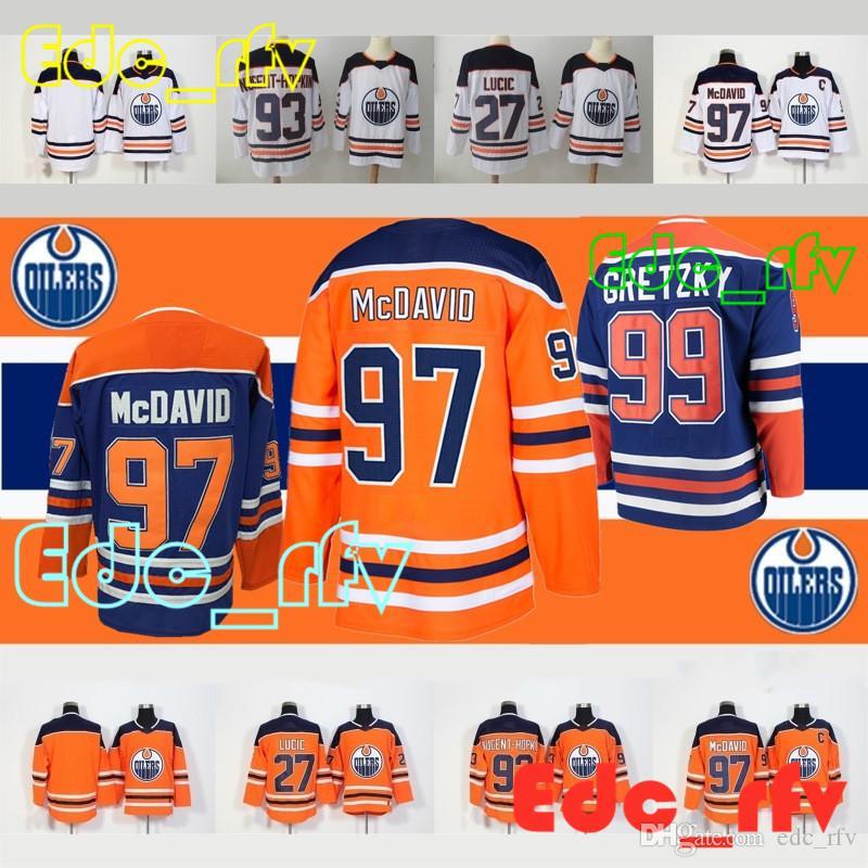 Compre Camisas De Hóquei De Edmonton Oilers 97 Connor McDavid 93 Ryan  Nugent Hopkins 33 Cam Talbot 99 Wayne Gretzky Retro De Edc rfv 6c02e7f304b