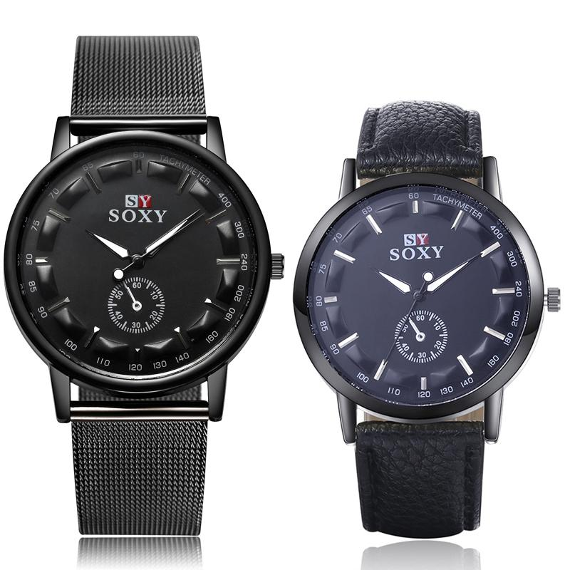 A Pair Watches Set SOXY Men Wrist Watch Simple Style Mens Quartz Watches Fashion Simple Designer Male Clock Montre Homme 2 PCS
