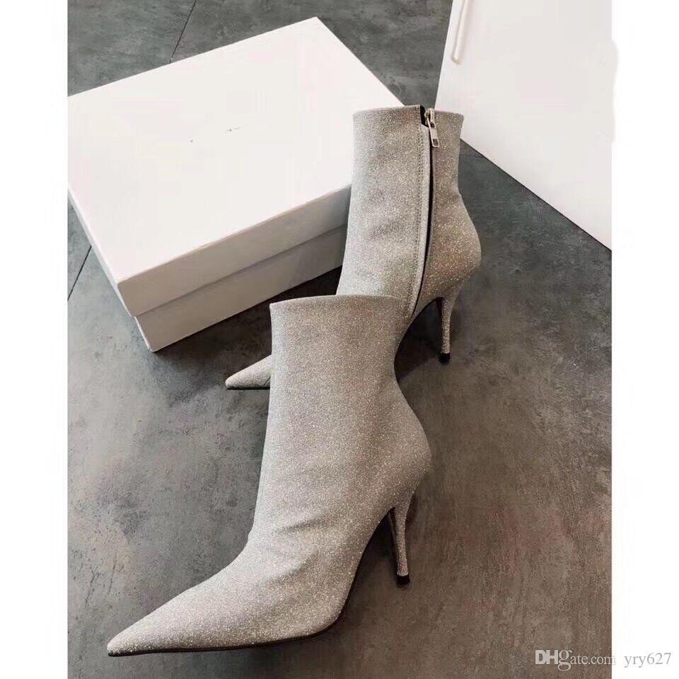 a4acdadc555 Compre Botines Para Mujer Otoño 2019 Otoño E Invierno Lentejuelas Nuevas Botas  Para Mujer Botas Martin Botas Cortas De Tacón Alto Para Mujer.