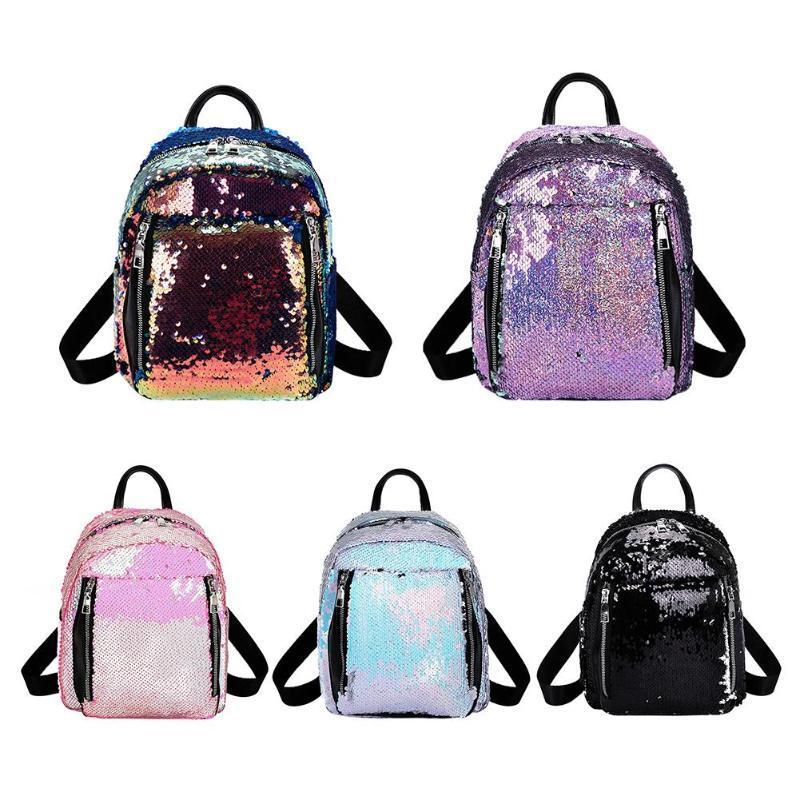 852374815907 Casual Women Sequins Backpacks Fashion Travel School Bag for Teenage Girls  PU Leather Backpacks Bling Sequins Shoulder Bag 2019