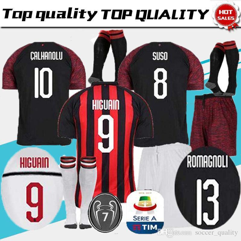 2019 Enfants 2018 2019 Milan HIGUAIN BAKAYOKO ROMAGNOLI CALHANOGLU ABATE  Ensemble De Maillots De Football 18 19 Kits De Camisetas CONTI Kalinic S  From ... 376b2101ae3b7