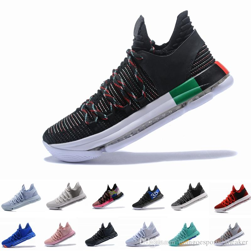 96613d3a8713 2019 Zoom KD 10 Anniversary PE BHM Oreo Triple Black Mens Basketball Shoes  KD 10 Athletic Sport Sneakers Kd 10s Kd 10 Online with  108.0 Pair on ...