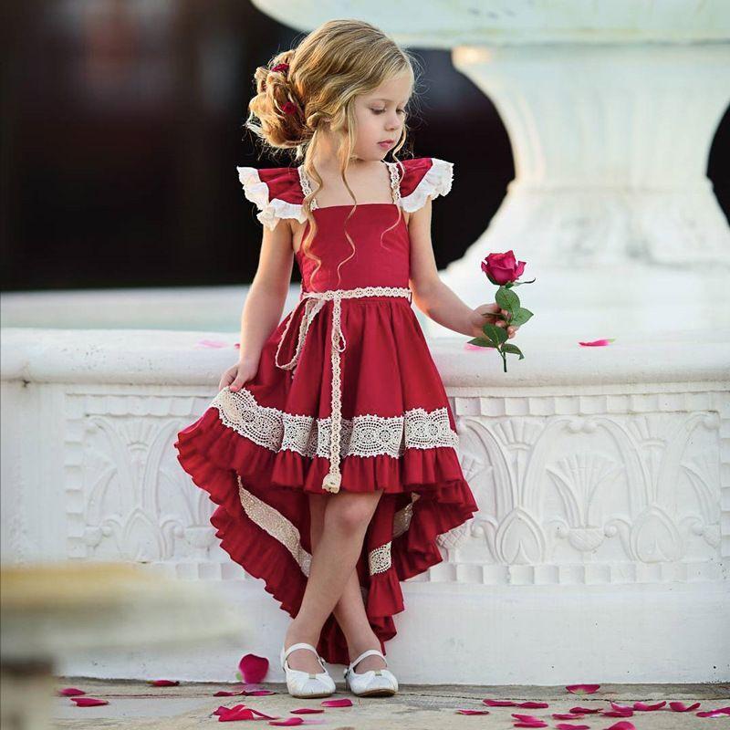64f2a0ec2158 2019 Girls Small Fly Sleeve Front Short Back Long Swallowtail Dress ...