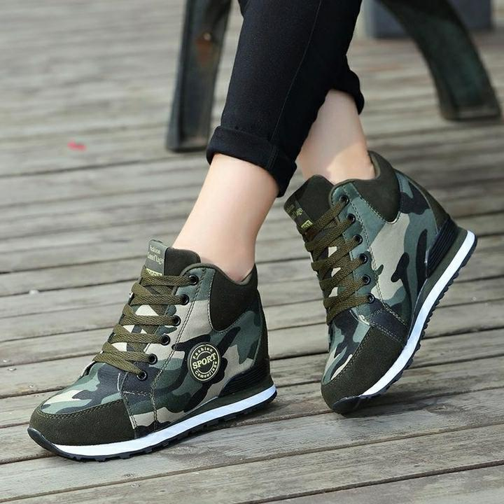 c3ed895570e0 Camouflage Women Sneakers High Heels Spring Autumn Fashion Casual Shoes  Woman Wedge Sneakers Height Increasing Platform Shoes Basketball Shoes Mens  Shoes ...