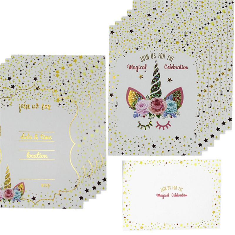 Unicorn Party 12pcs/set Unicorn Birthday Party Invitation Card Rainbow  Cards Birthday Kids Decorations Baby Shower Favor-S