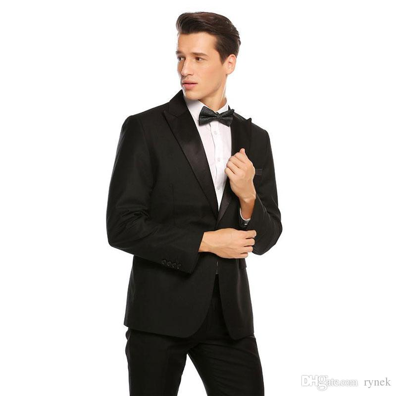 Black Groom Tuxedos Suits for Wedding Men Suits with Pants Groomsmen Wear 2Piece Latest Coat Pants Designs Wide Peaked Lapel Terno Masculino