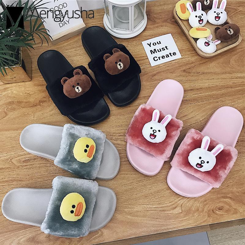 73b4b16c366f3 cute brown bear decoration fur home slippers women flat anti-skid slides  2018 korean style cartoon animal prints fur shoes