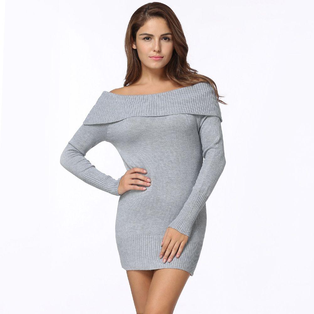 cc4f31efebf8 2019 Autumn Fashion Women Knit Dress Off Shoulder Knitted Bodycon Dress  Long Sleeve Sexy Party Short Dress Black Grey Knitwear Sheath Dress Elegant  Dresses ...