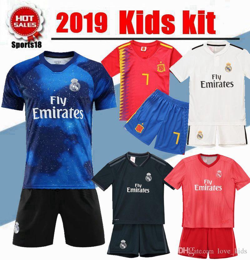 free shipping 05b90 1ed24 2019 Kids kit Real madrid Spain Soccer Jersey youth boy Child BALE Modric  Kroos Sergio Ramos VINICIUS JR ASENSIO ISCO home away Jersey