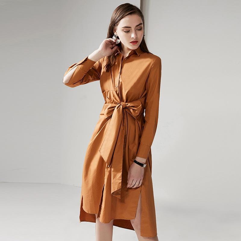 63d7226509ca 2019 Shirt Dress Female Medium Length 2019 Spring New Cotton Loose Pure  Color Long Sleeves Irregular White Skirt From Maiweishan