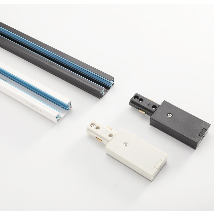 Carril de riel 1m Montaje de luz de riel Aluminio 1 metro Sistema de conector de 4 cables Rieles Fixture negro blanco Rieles universales