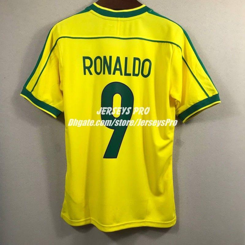 new styles 1c7fc 9c53e Brasil Brazil Ronaldo World cup 1998 Home Soccer Jersey football shirts  Yellow camisas de futebol camiseta maillot de foot Maglia Di Calcio