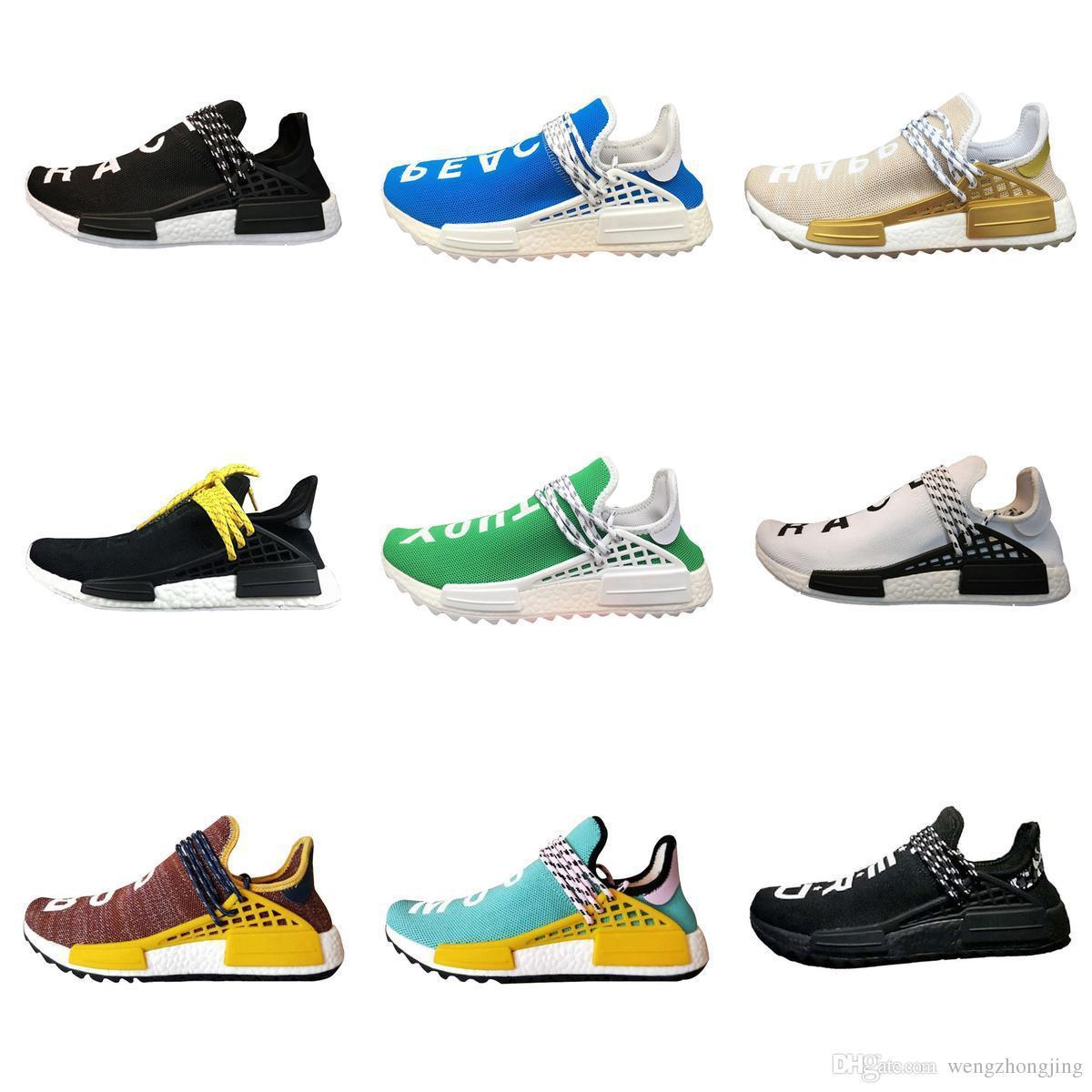 41c0161aaf4a5 2019 Grade A Quality New Human Race Pharrell William Shoes Sports Discount  Athletic Mens Outdoor ShoesTraining Sneaker Size 36 46 Lace Up Flat Shoes  Yellow ...