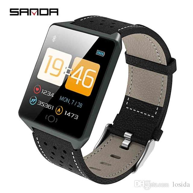 Watches Sanda Smart Watch Ck19 Ip67 Waterproof Tempered Glass Heart Rate Monitor Blood Pressure Fitness Tracker Men Women Smartwatch