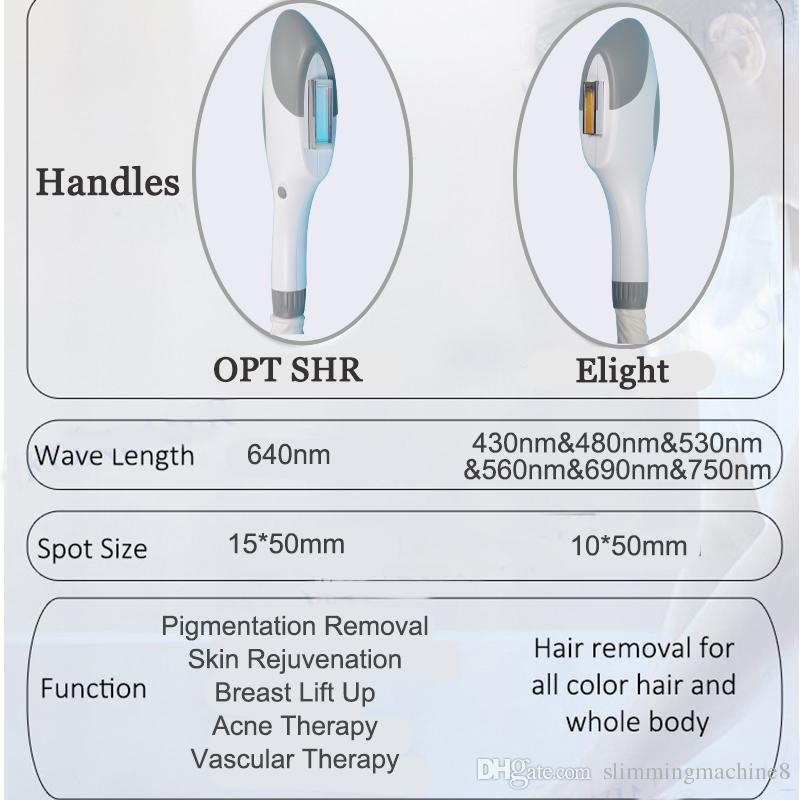 Best acne removal ipl hair removal machine 7 filters Elight Vascular removal machine 600000shots opt shr laser free shipment