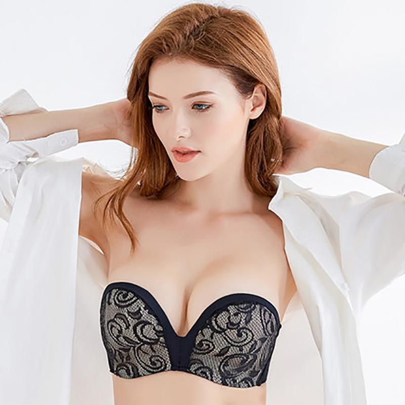 cb19ffa3b6f 2019 Sexy Lace Invisible Bras For Women Strapless Bra Push Up Backless  Lingerie 1 2Cup Bralette Seamless Brassiere Female Underwear From Ydw158