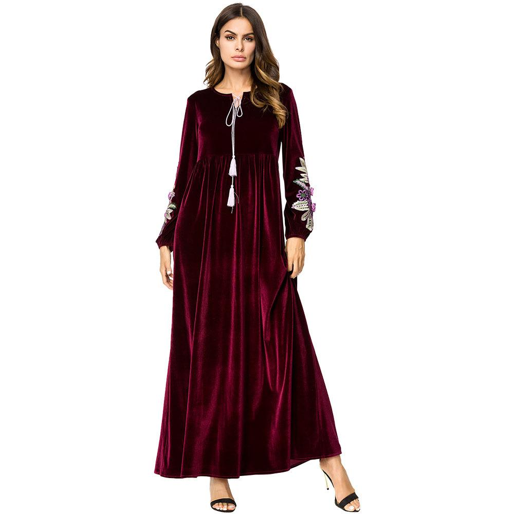 premium selection 2ebe5 93f9d 187216 Medio Oriente Velluto a maniche lunghe ricamato a mano Abito a  maniche lunghe Arabian Vestito casual Vestido De Mujer Musulmana  Moslimvrouwen ...