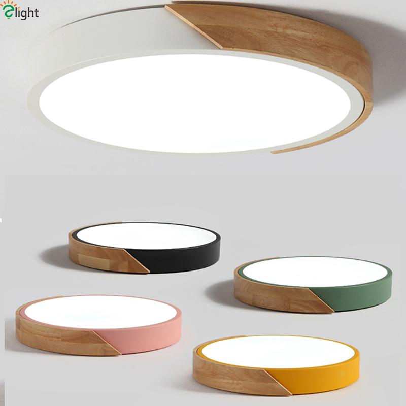 Nordic Oak App Dimmable Led Ceiling Lights Living Room Round Multicolor Alloy Led Ceiling Lamp Bedroom Led Ceiling Light Fixture