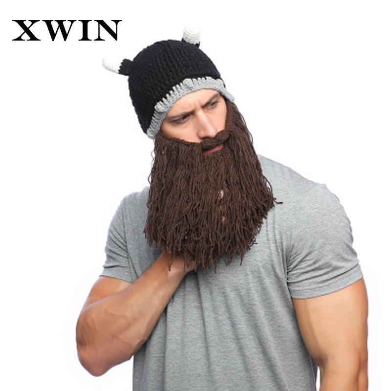 fda0c2a854dd9 2019 XWIN Adult Viking Beard Handwork Skullies Beanies Horn Hat Winter Warm  Mask Hat Wool Knitted Funny Skull Beanie Caps From Yangmeijune