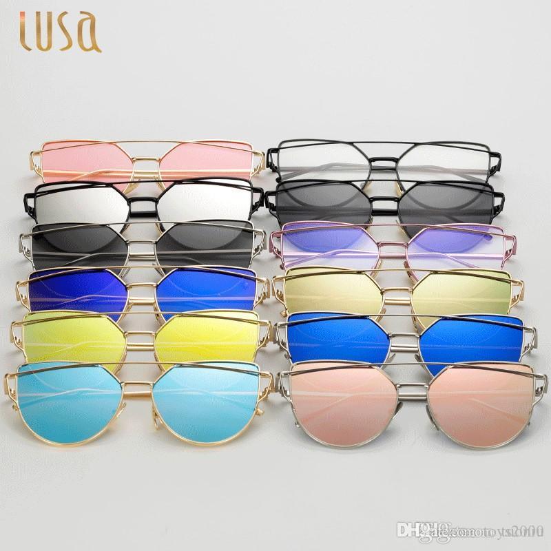 Atacado Vintage Rose Gold Cat Eye Óculos De Sol Das Mulheres de Design Da  Marca Twin-Vigas Ópticos Óculos de Armação Homens Óculos De Sol Para