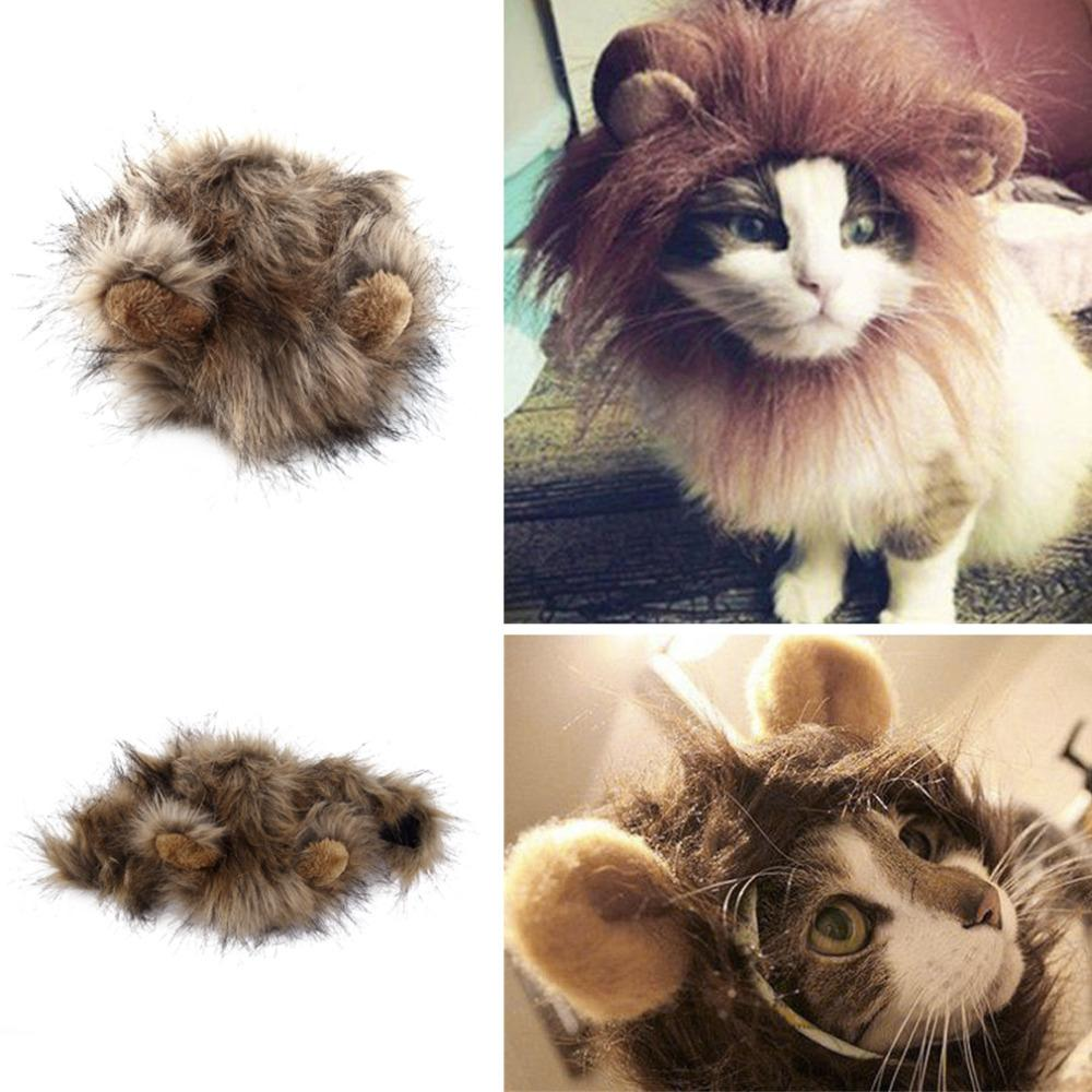 Funny Cute Pet Costume Cosplay Lion Mane Wig Cap Hat For Cat Halloween Xmas Clothes Fancy Dress With Ears Home