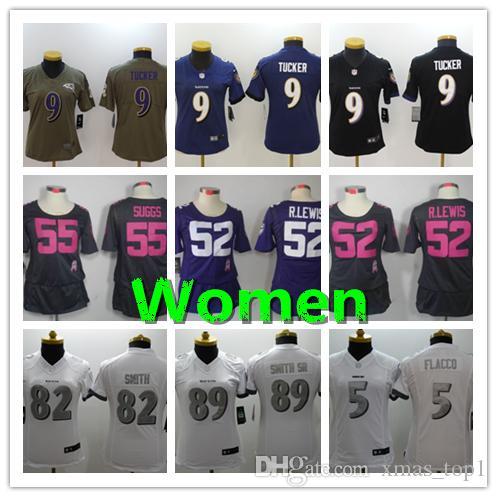 599e3e064 Women Baltimore Ravens Football Jersey 9 Justin Tucker 5 Joe Flacco ...