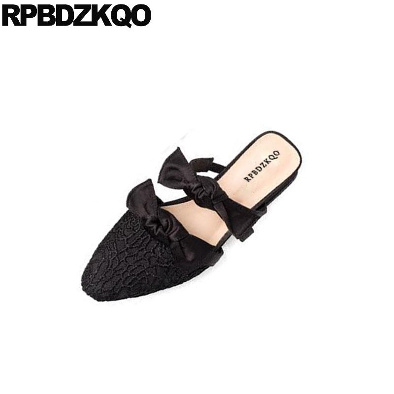Lace Mesh Bow Women Flats Shoes With Little Cute Bowtie Luxury Custom China  Slippers Black Mules Pointed Toe Designer Satin Walking Shoes Flat Shoes  From ... 21225fc32