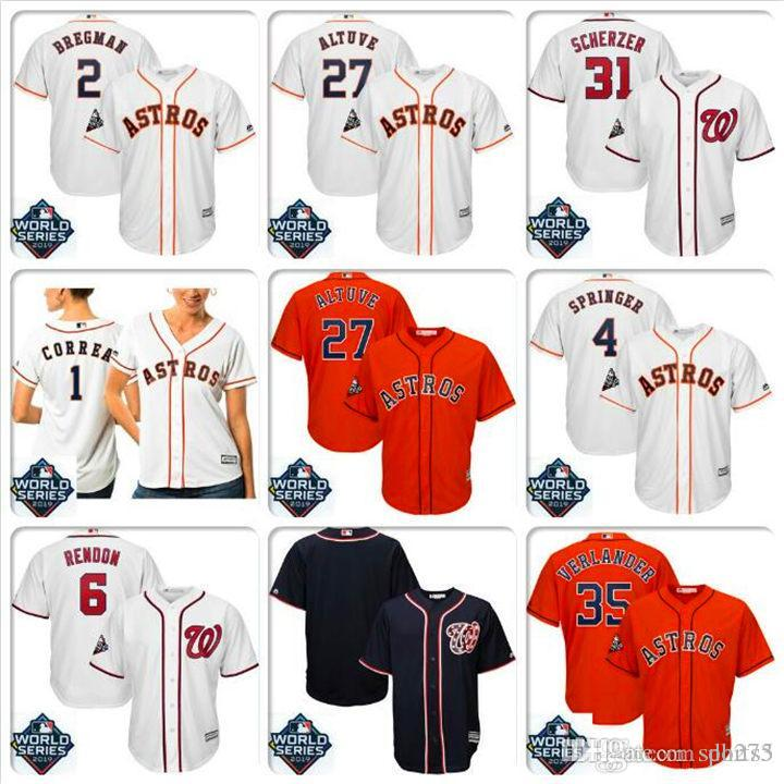 Hommes Jose Altuve Houston Astros Jersey Yordan Alvarez Max Scherzer Anthony Rendon pas cher World Series maillots de baseball de base fraîche Bound chemise