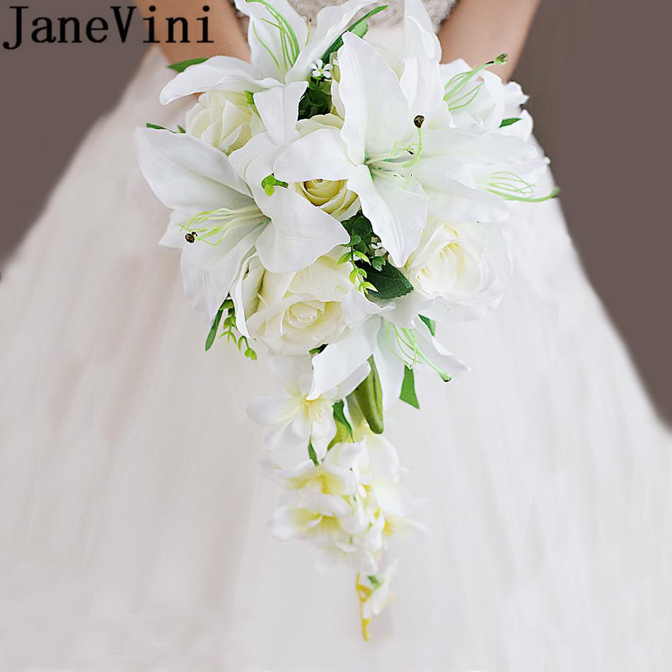 JaneVini 2018 Waterfall Wedding Bouquet Flowers Artificial Lily Bridal Bouquets Sposa Bride Groom Brooch Boeket Zijde